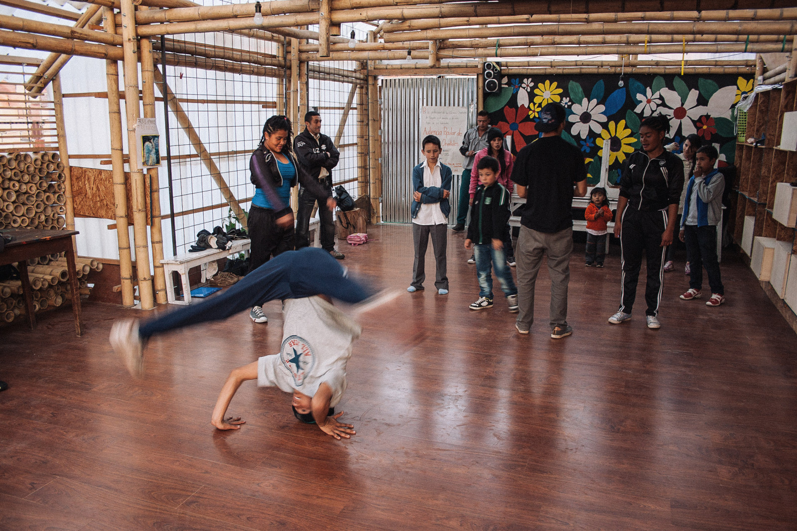 On Tuesdays and Thursdays, youngsters come and practice breakdancing.