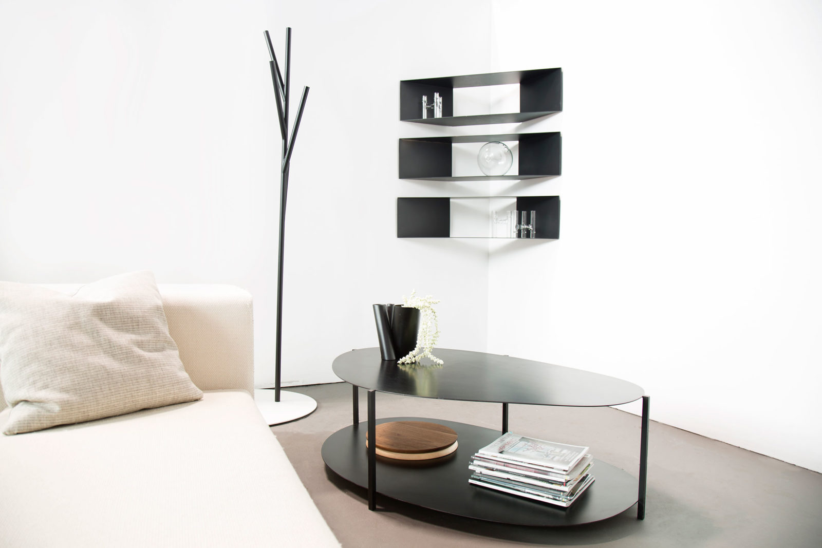 Corner Shelves, Albert Hall Tree, Ishicoro Coffee Table, Photo: fferrone design