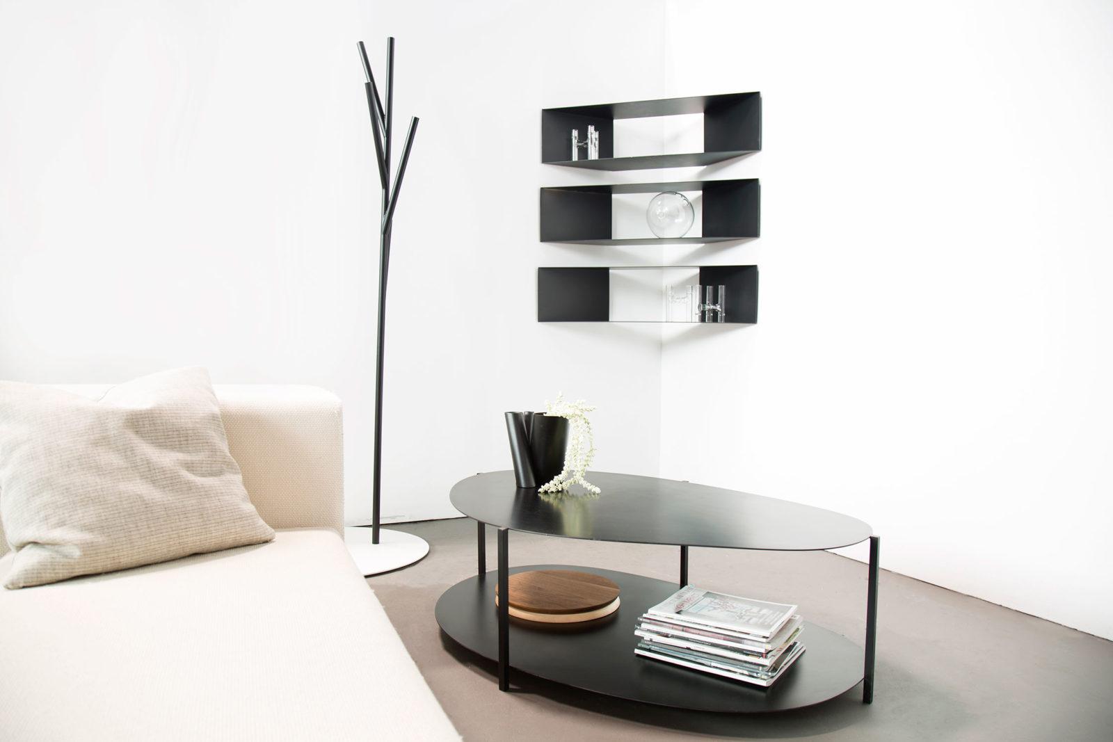 Corner Shelves, Albert Hall Tree, Ishicoro Coffee Table, Photo: fferrone design