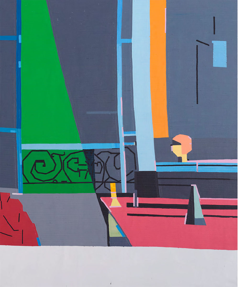 The Piano Lesson (2017) depicts an intimate portrait of personal paradise of Guy's son playing the piano. This piece is a reinterpretation of a Matisse painting with the same title painted 100 years ago.