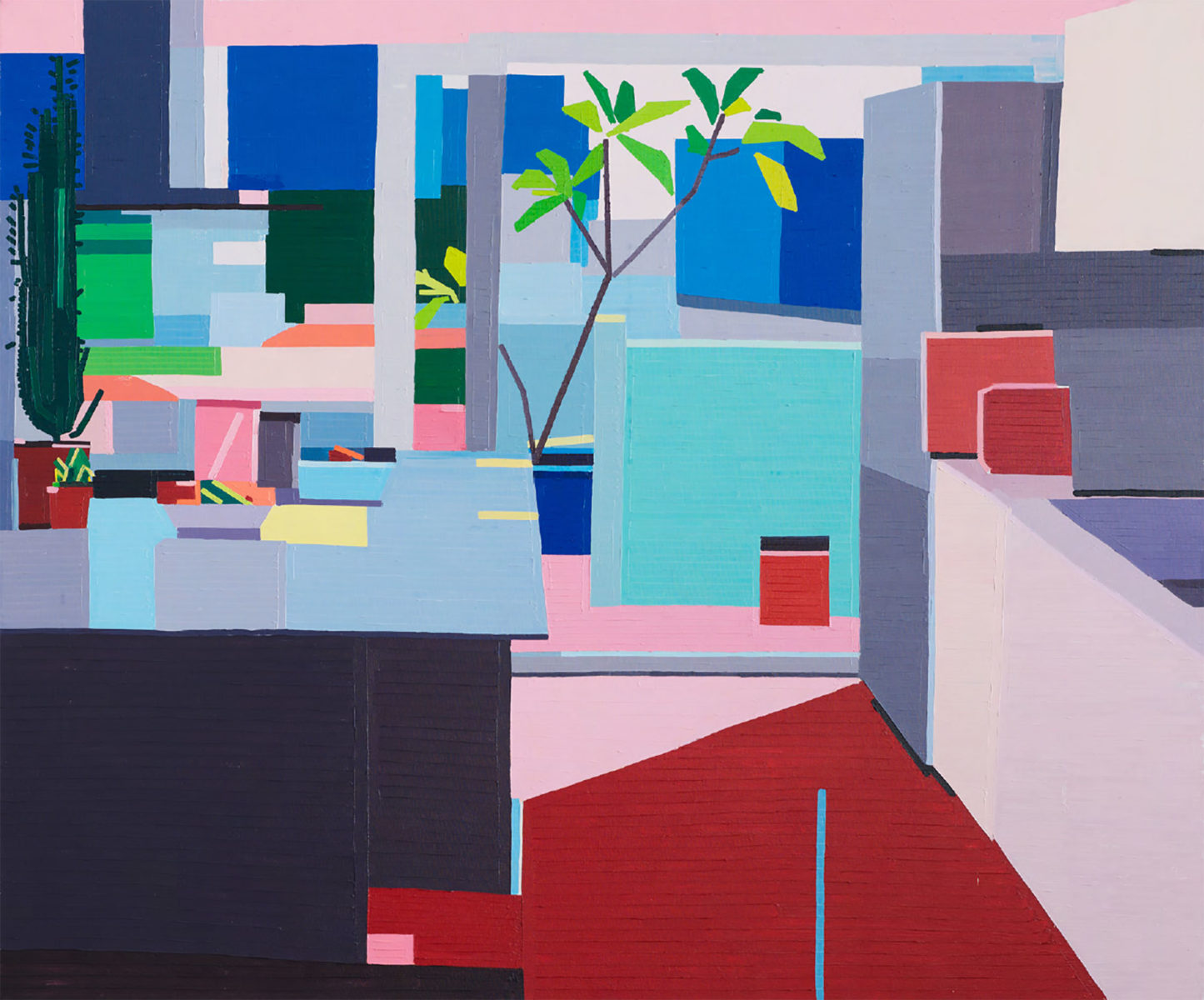 """Kitchen II (2016/17) Domestic daily life: A painting of Guy's own Tel Aviv apartment. """"A frisson of the native glance as if seen through another's eyes, a personal view seen a thousand times suddenly as if for the first time."""""""