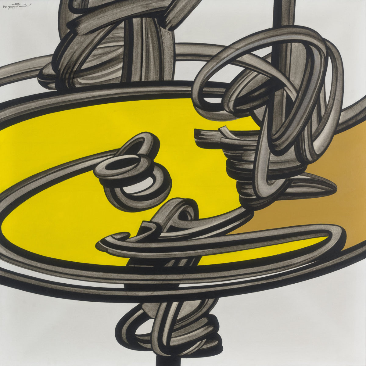 'Yellow and black abstract' by Kourosh Shishegaran.