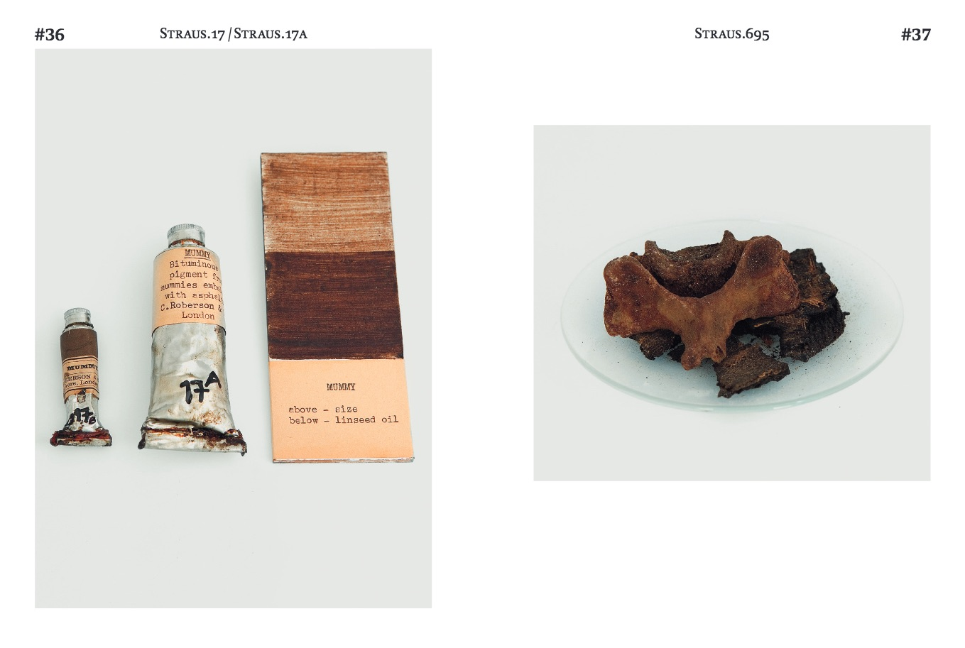 An excerpt from Khandekar's 2017 book, Collecting Colour, published by the Sikkens Foundation and ArtEZ Press. (left) two tubes of Mummy and painted swatches, manufactured by Charles Roberson and Co.; (right) part of a mummy used to make paint, most likely supplied by Charles Roberson and Co