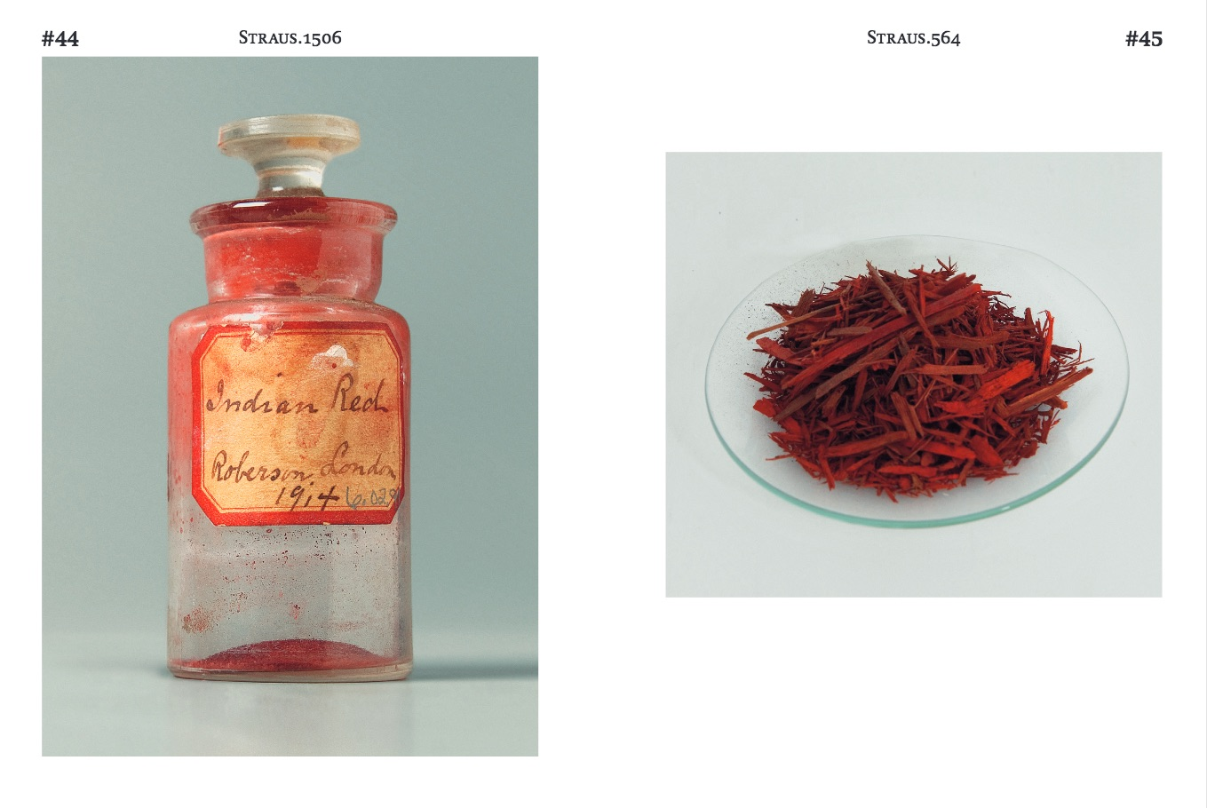 An excerpt from Khandekar's 2017 book, Collecting Colour, published by the Sikkens Foundation and ArtEZ Press. (left) Indian Red manufactured by Charles Roberson and Co.; (right) chips of Brazil wood