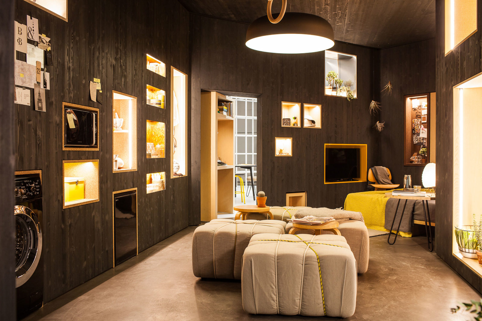 The apartment's interior space can be combined and reconfigured in many different ways.