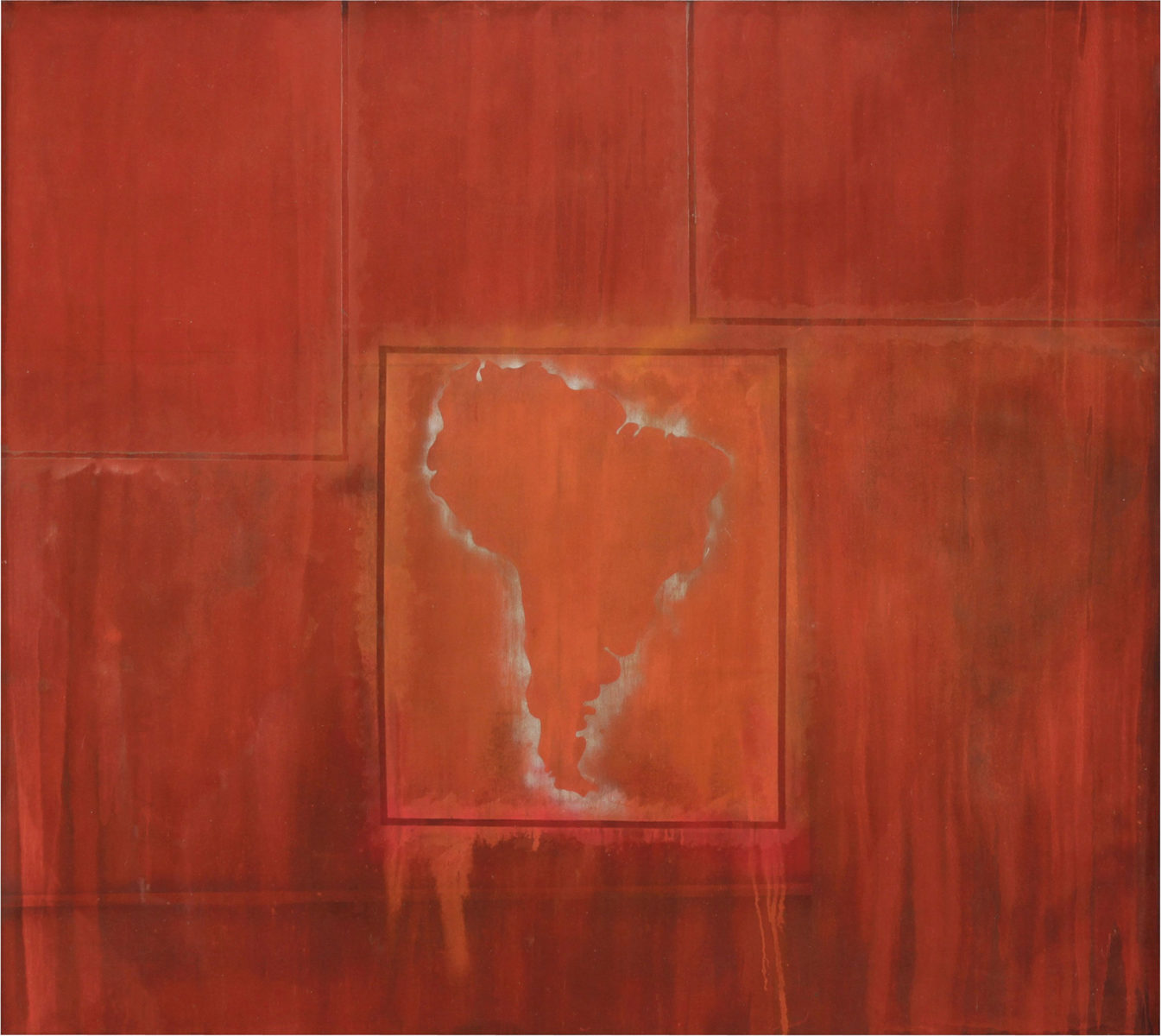Frank Bowling, South America Squared, 1967, acrylic on canvas. 243 x 274 cm