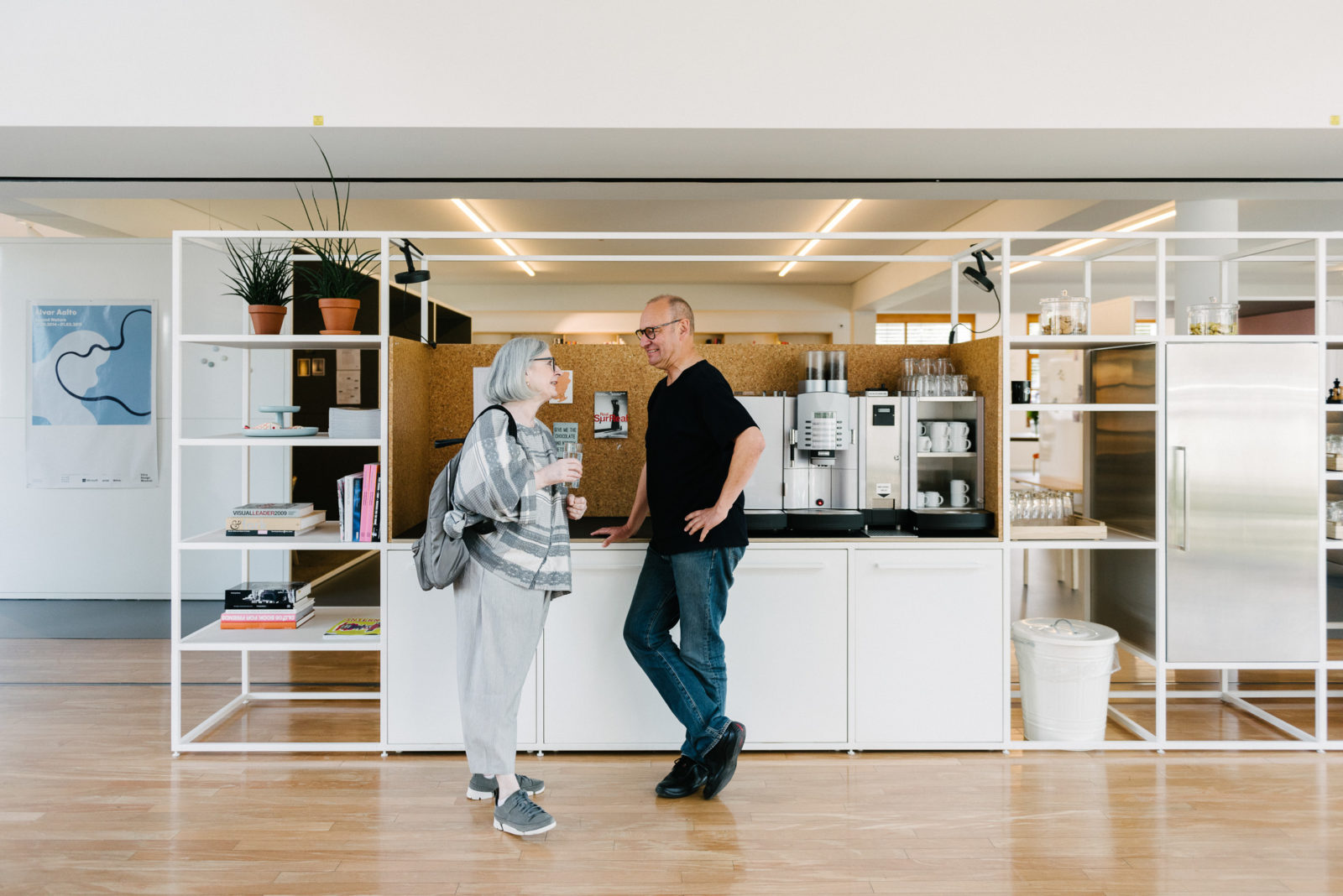 The Vitra Center Studio Office: Providing space for impromptu meetings around the coffee point. Sevil bumps into Vitra's Juergen Durrbaum