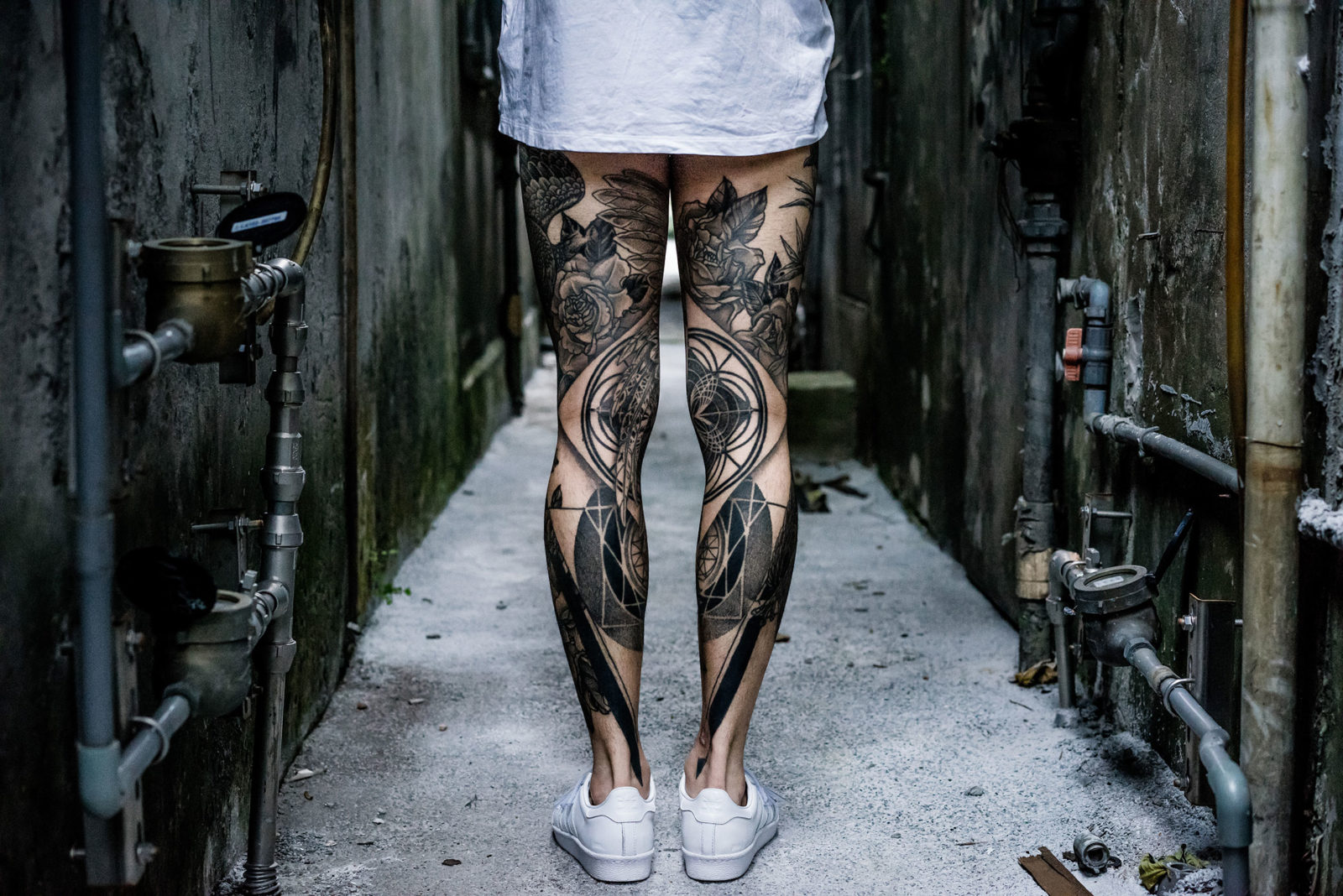 Maxime's unique tattoo style combines his many interests and influences across history, philosophy, art and science