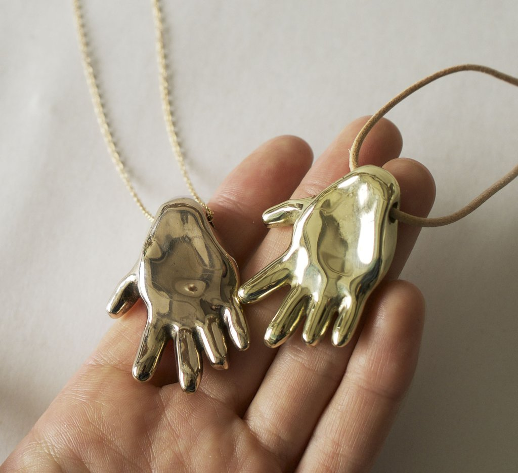 Gilded Hand Necklace, Solid Bronze or Brass