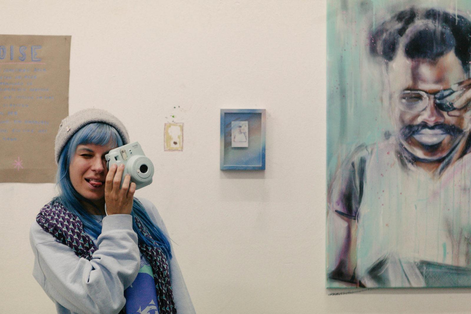 (EN) Anne Bengard in front of her work.