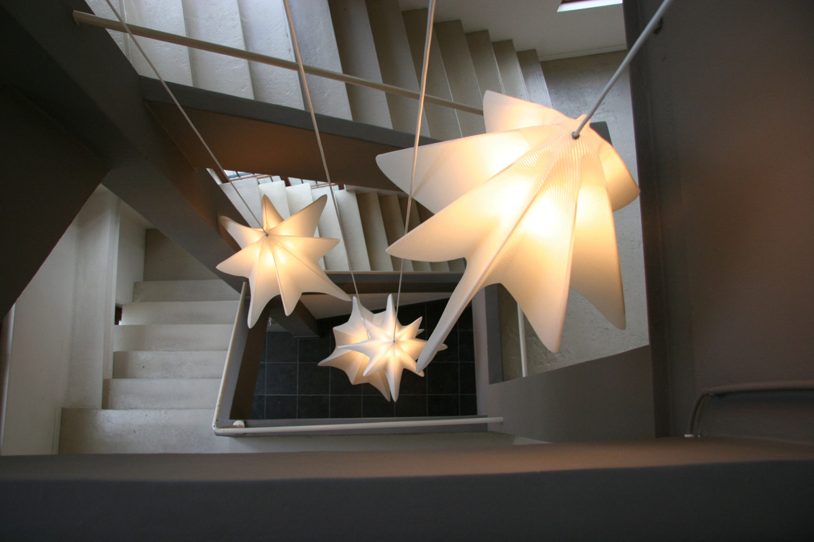 'Flight' pendant lamps for private staircase - 2008