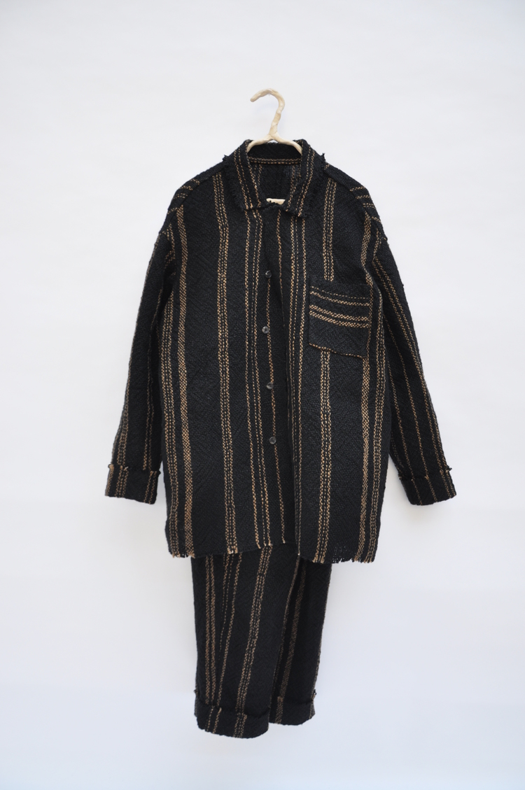 Rubberised ramie, striped armour-like suit set.